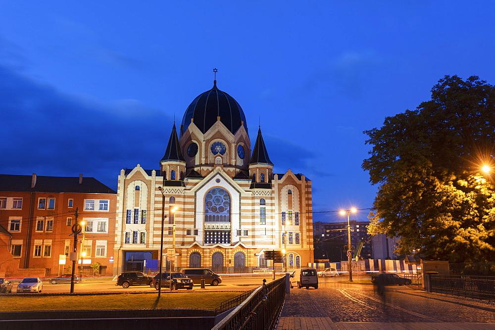 New Libral Synagogue at night in Kaliningrad, Russia