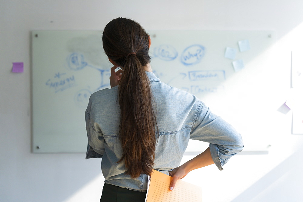 Businesswoman thinking in front of whiteboard