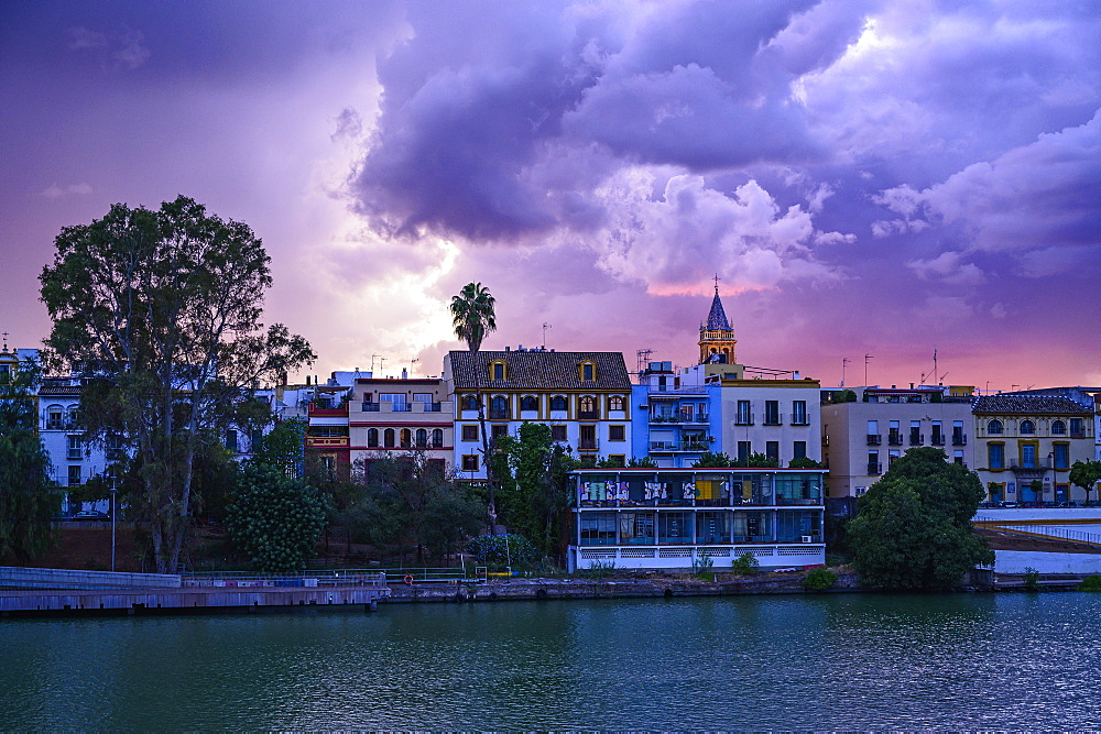 City skyline at sunset in Seville, Spain