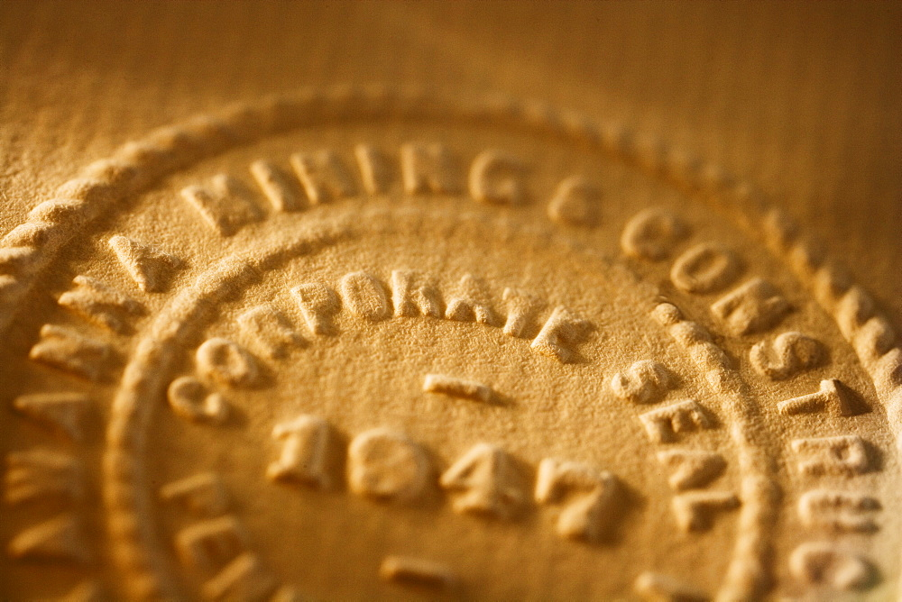 Close up of raised corporate seal