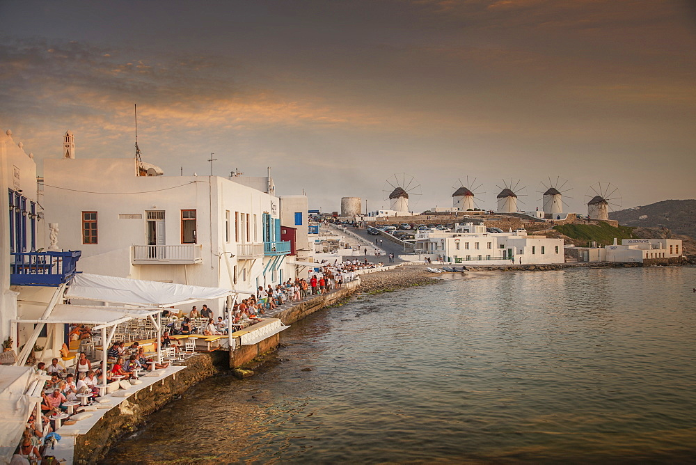 Restaurants on waterfront in Mykonos, Greece