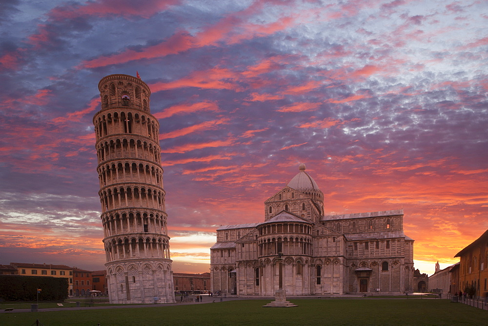 Leaning Tower of Pisa and Piazza dei Miracoli at sunset in Tuscany, Italy - 1178-28342