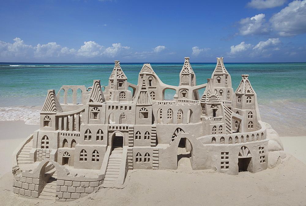 Sand castle on beach, Miami Beach, Florida, Usa