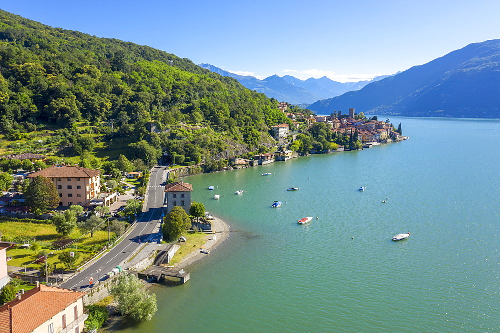 Buildings on peninsula by Lake Como in Lombardy, Italy