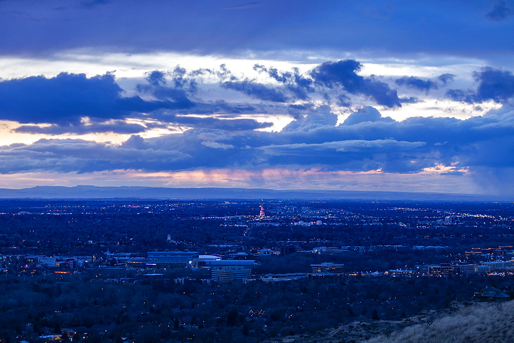 Cityscape under overcast sky at sunset, Boise, Idaho, USA