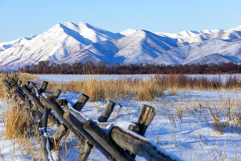Fence in snow by mountains