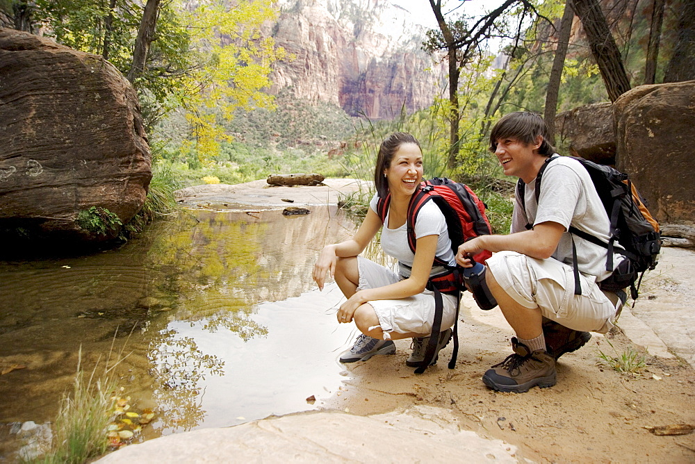 Backpacking couple in Zion National Park Utah USA