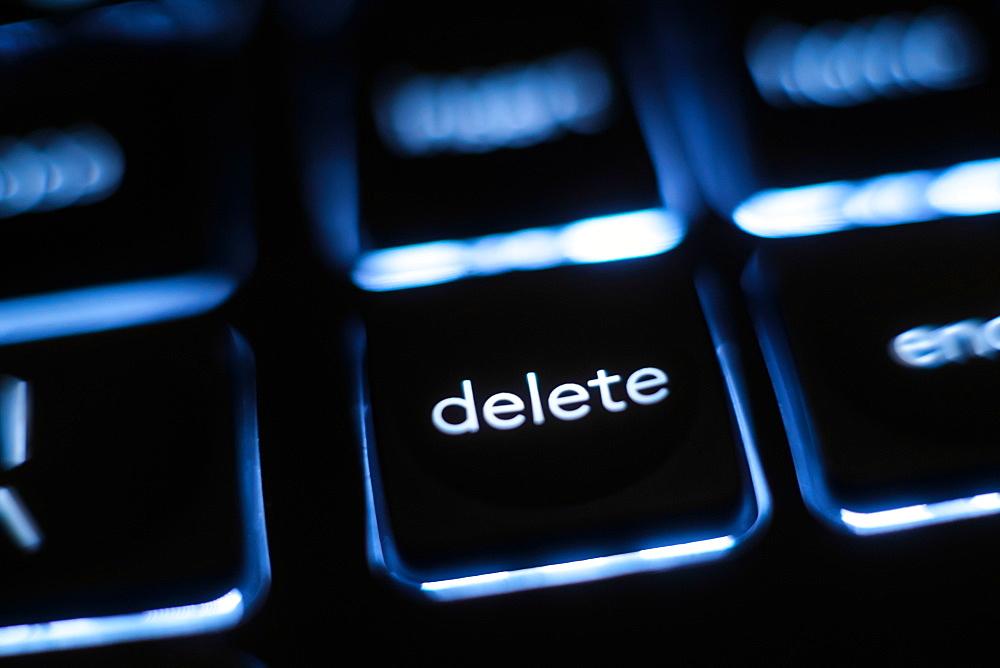 Illuminated 'delete' key on keyboard