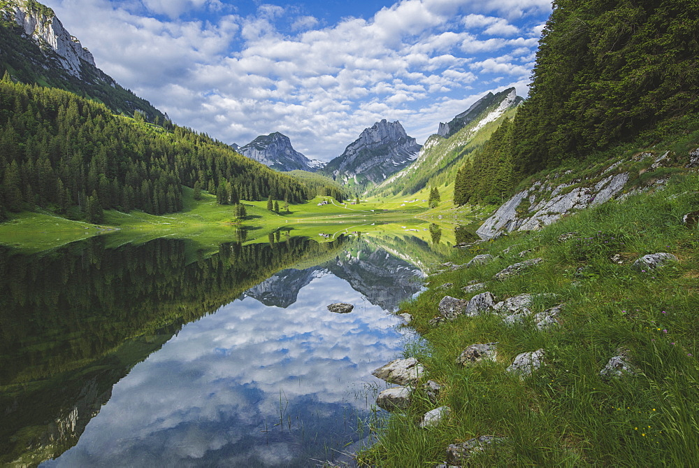 Lake and mountains in Samtisersee, Switzerland