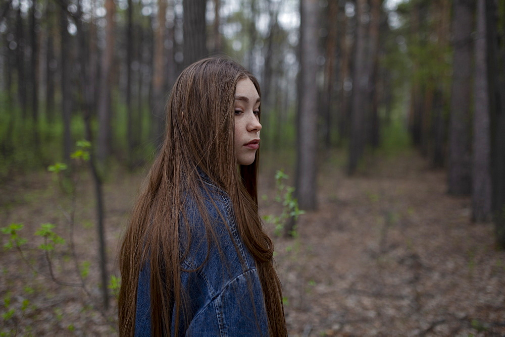 Young woman with denim jacket in forest - 1178-28542