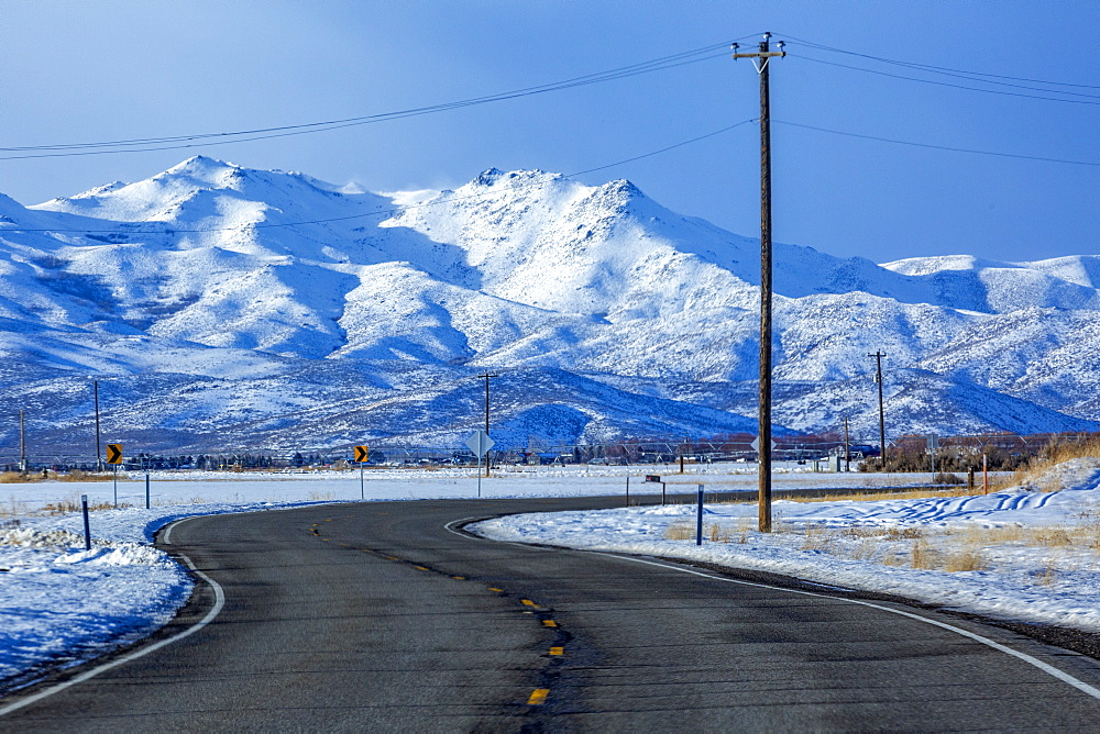 Highway by snowy mountain in Bellevue, Idaho