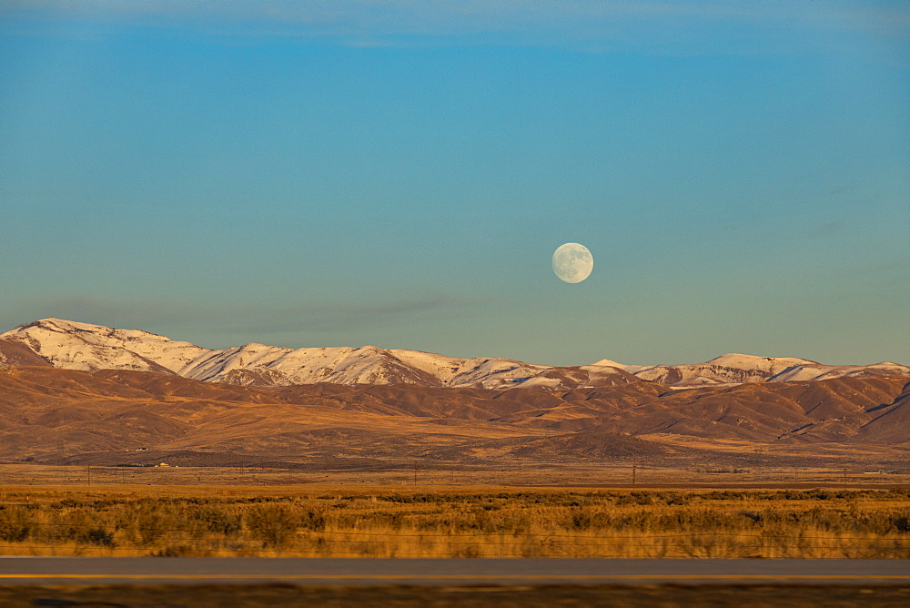 Moon over hills in Boise, Idaho