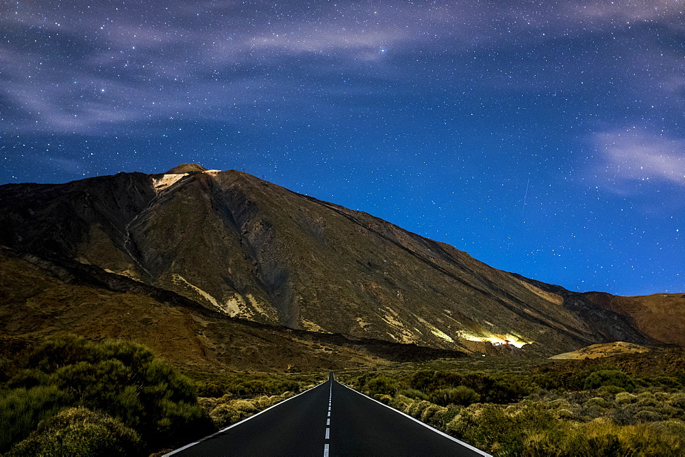 Mount Teide and highway in Tenerfie, Spain