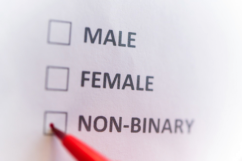 Pen marking on male, female and non binary gender checklist