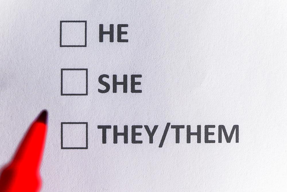 Pen marking on personal pronounand non binary gender checklist