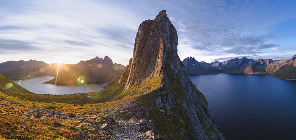 Norway, Senja, Panoramic view of Segla mountain at sunrise