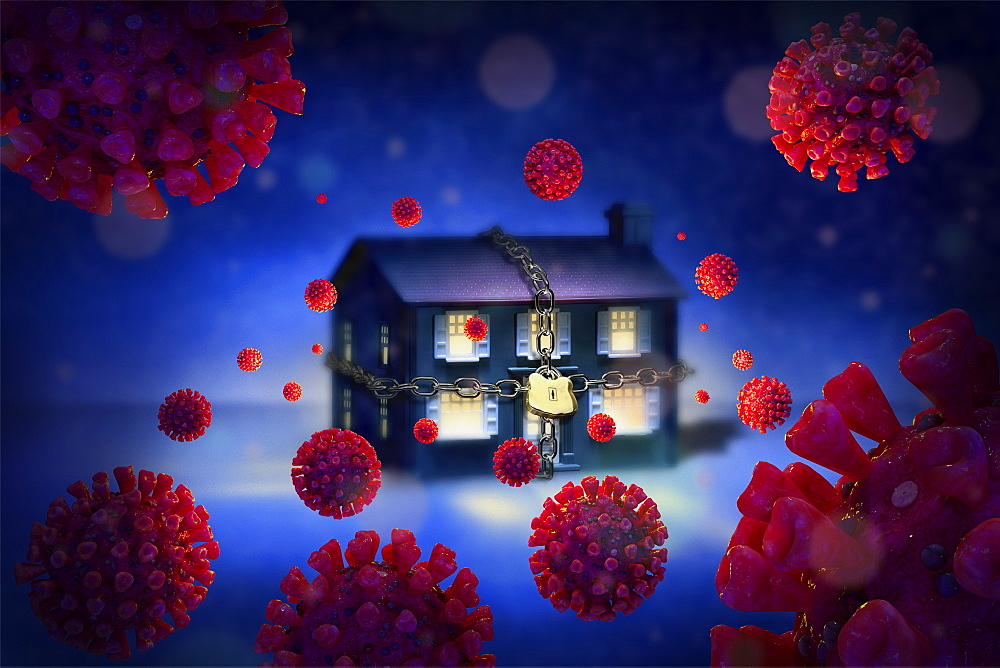 Digitally generated image of chained up house surrounded with Coronaviruses