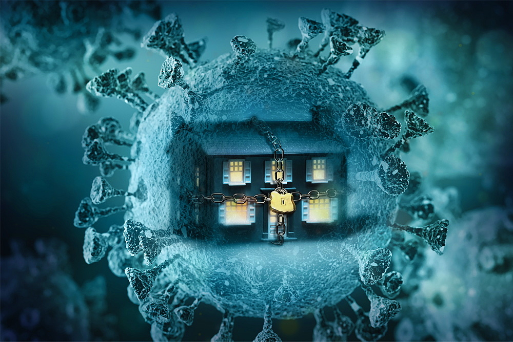 Digitally generated image of chained up house inside Coronavirus