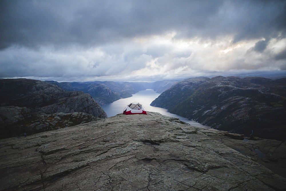 Tent on Preikestolen cliff in Rogaland, Norway