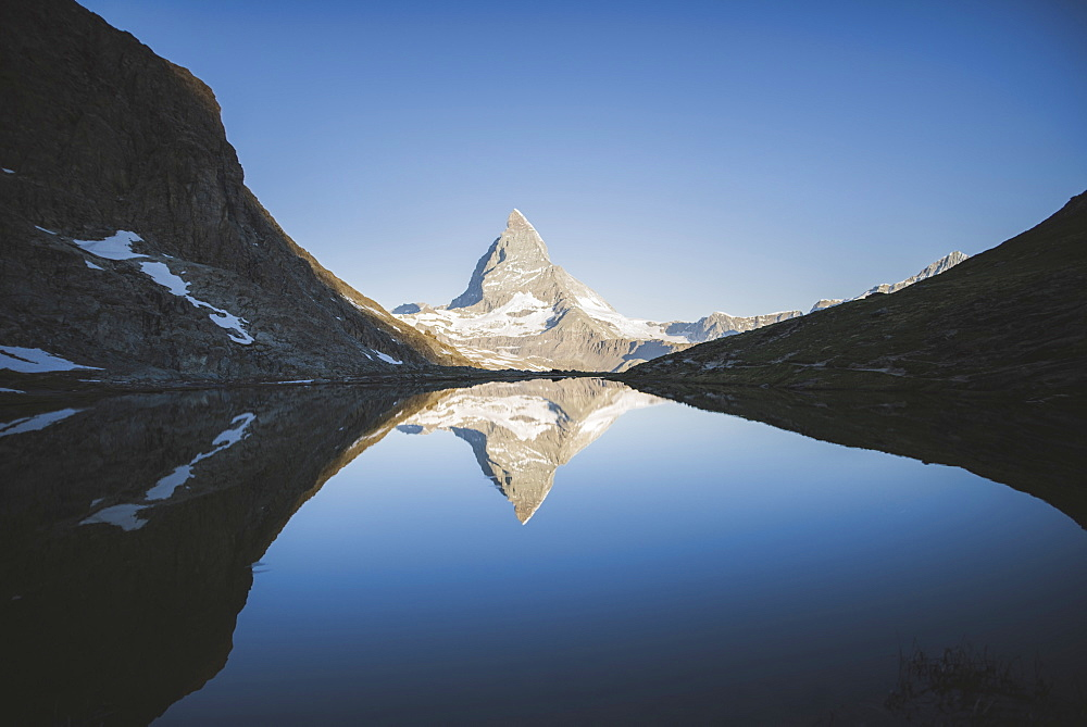 Matterhorn mountain and lake in Valais, Switzerland