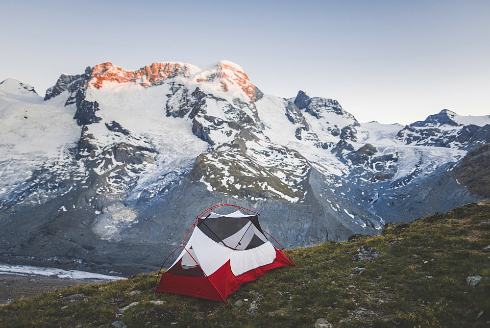 Tent by Gorner Glacier in Valais, Switzerland