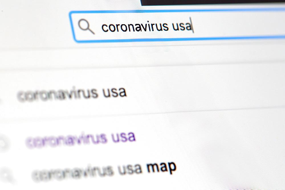 Internet search for 'coronavirus'