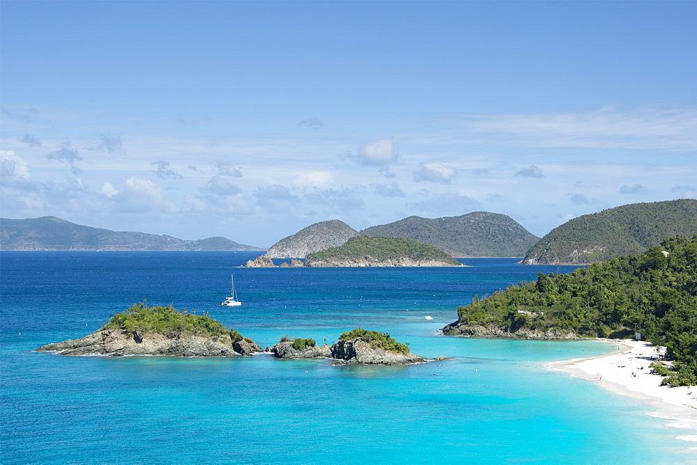 Island in sea at Trunk Bay in St. John, Virgin Islands