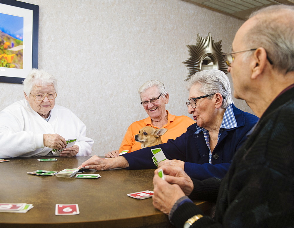 Senior people playing card game