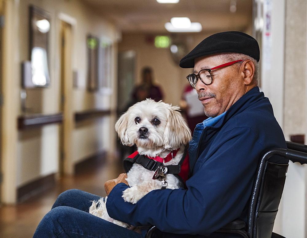 Senior man holding dog in wheelchair
