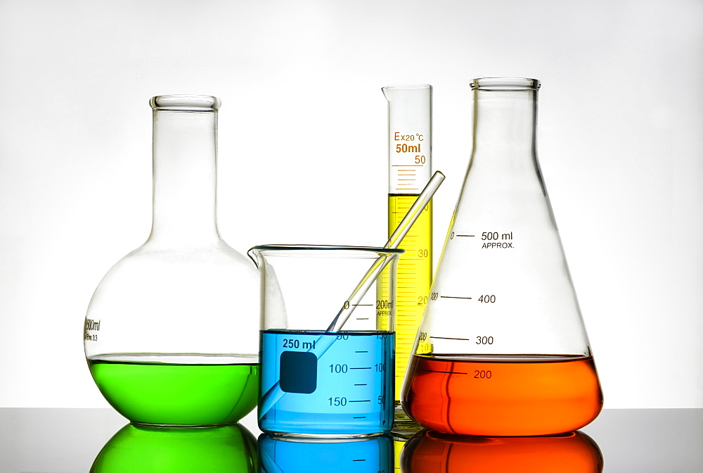 Colorful liquid in beakers