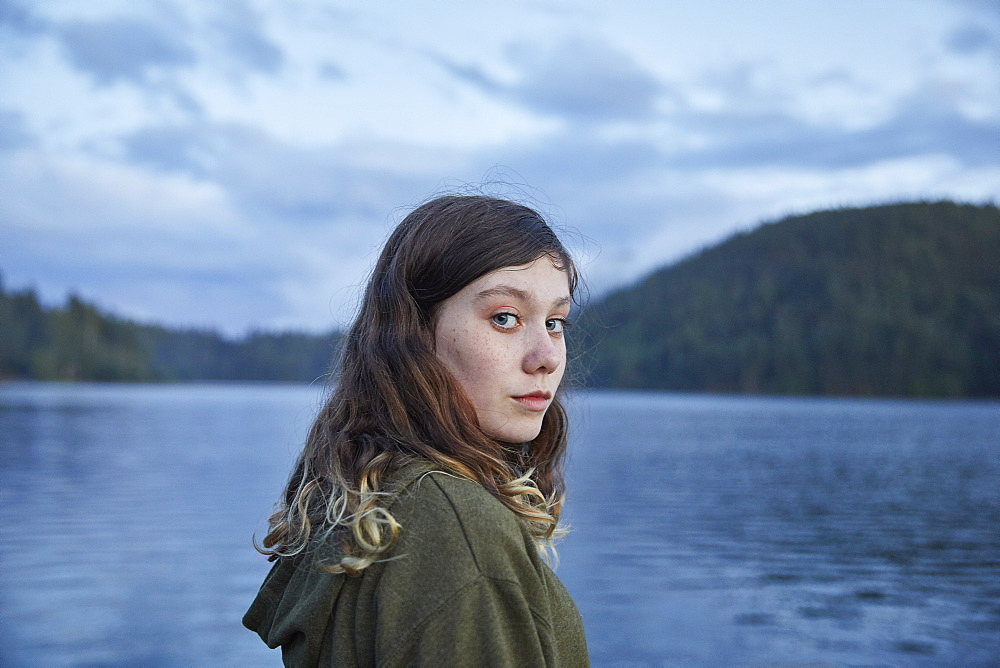 Portrait of girl by lake