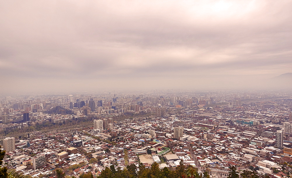 Chile, Santiago, Storm clouds over cityscape