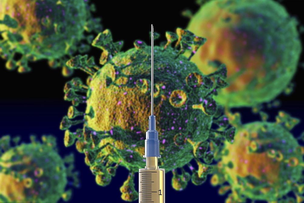 Syringe with coronavirus vaccine
