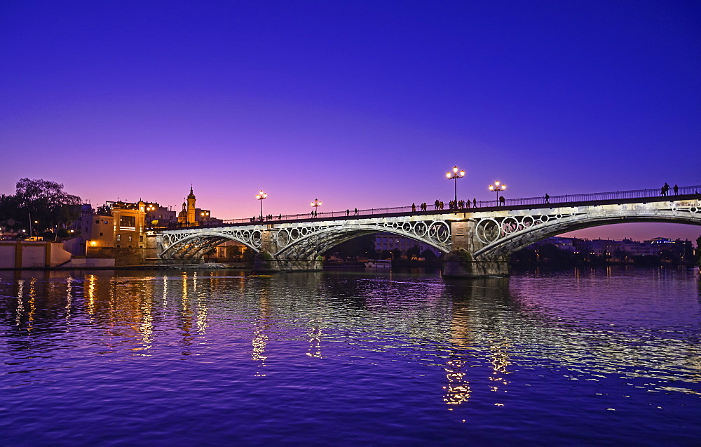Spain, Seville, Triana Bridge, Triana Bridge over Guadalquivir River