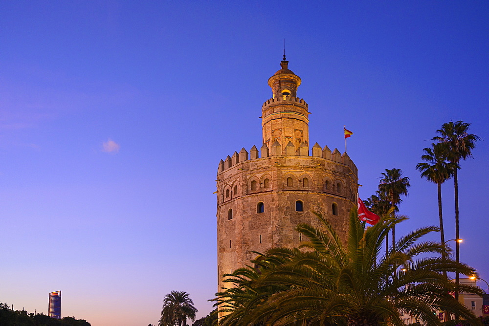 Spain, Seville, Torre Del Oro, Torre Del Oro at dawn