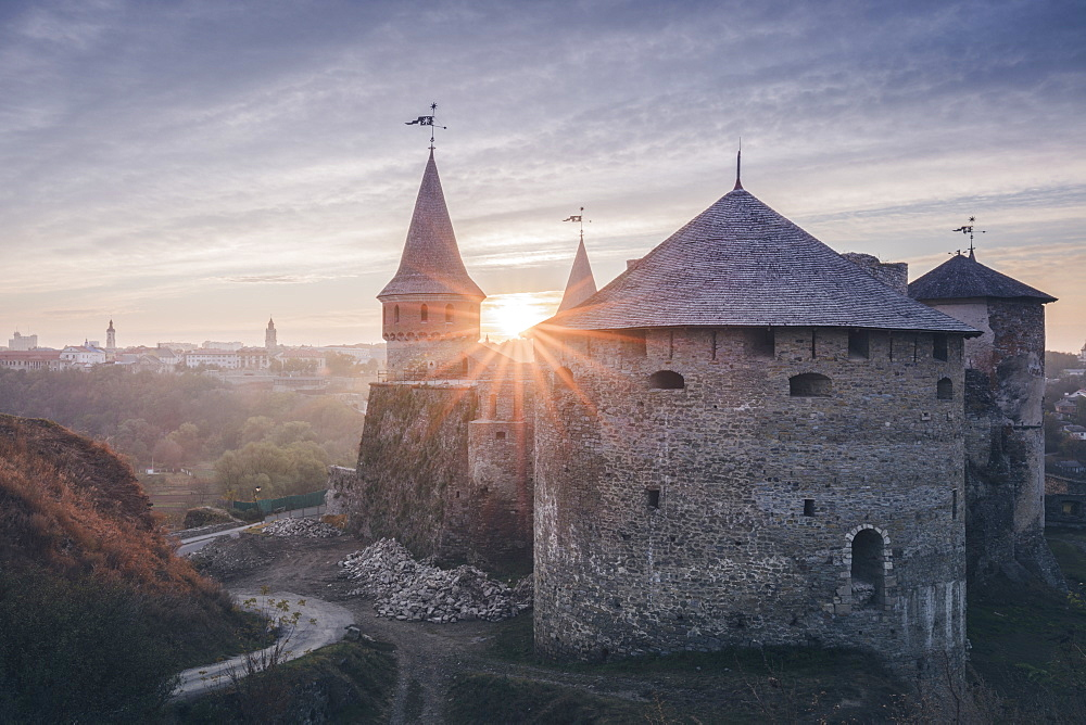 Ukraine, Oblast, Kamianets Podilskyi, Old castle in sunlight