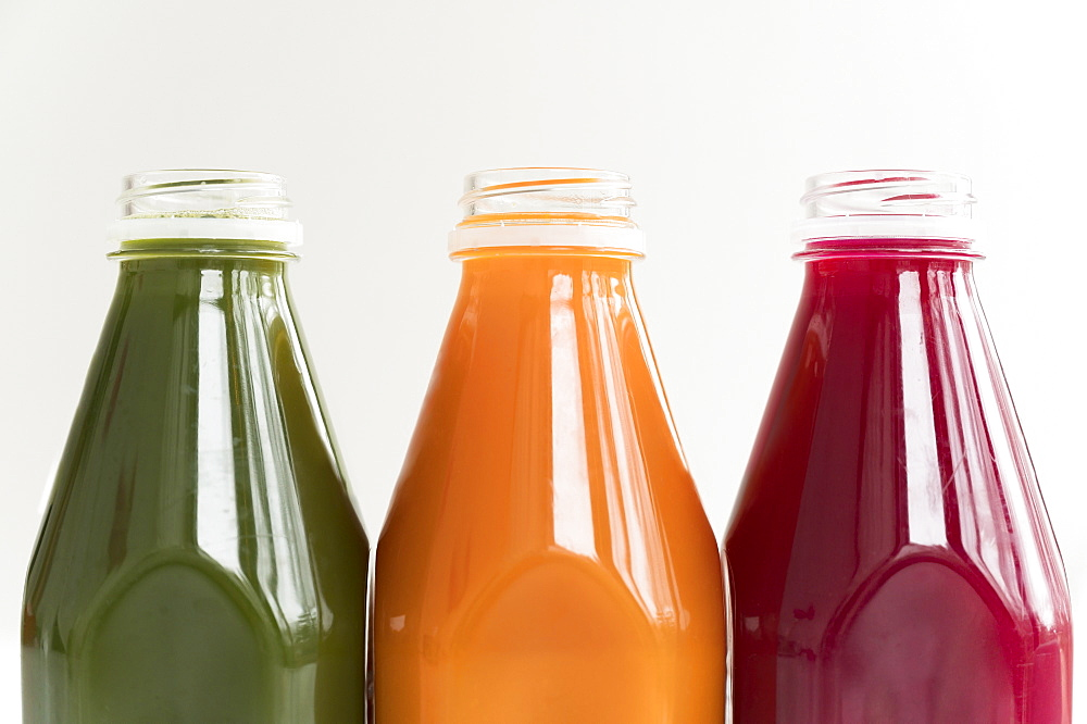 Healthy juices in row