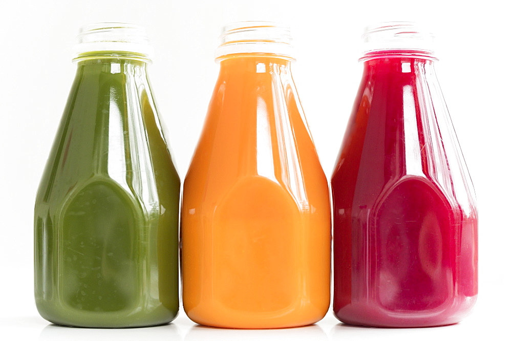 Healthy juices in a row