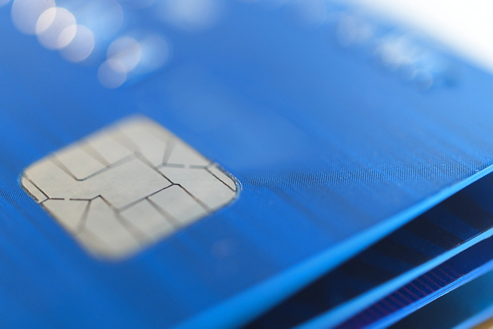 Close up of credit card chip