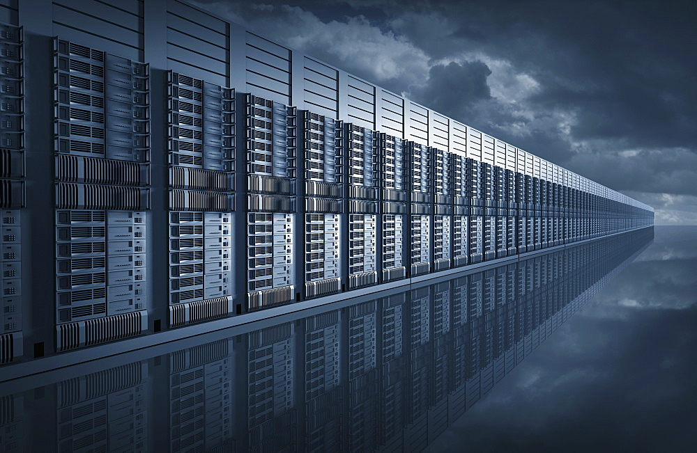 Composite image of computer servers and storm clouds