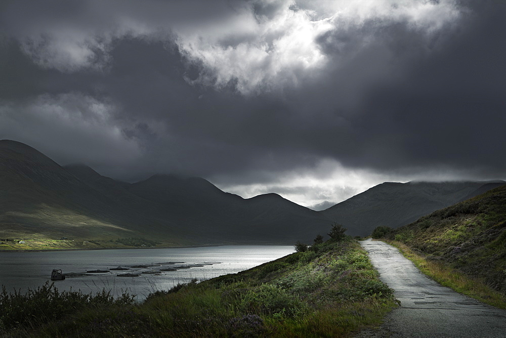 United Kingdom, Scotland, Storm clouds in Scottish Highlands