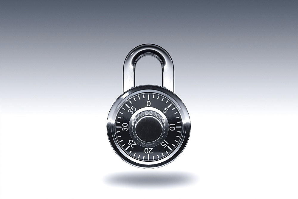 Padlock on gray background
