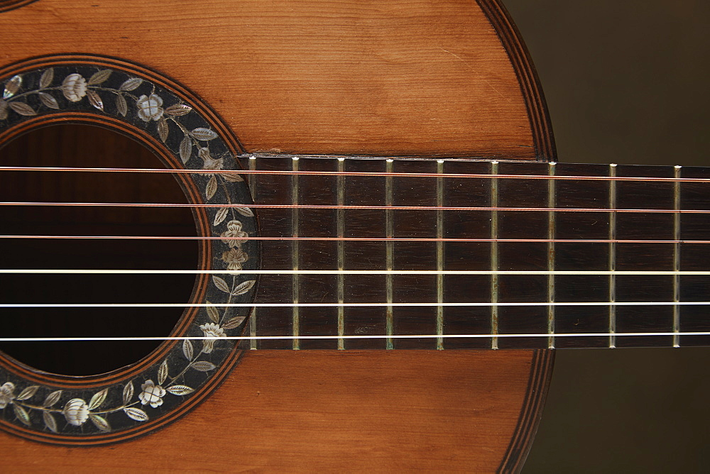 Close up of acoustic guitar bridge and strings
