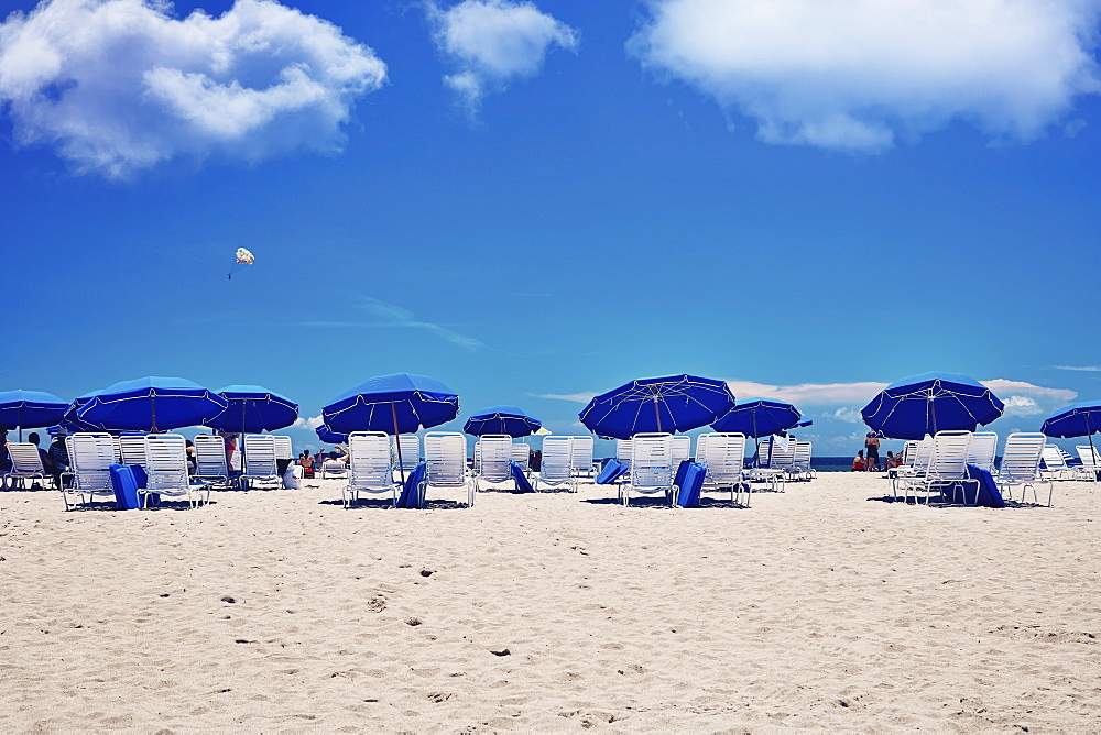 USA, Florida, Miami, Bach umbrellas and beach chairs