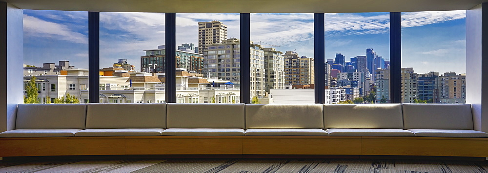 USA, Washington, Seattle, Skyline seen through large window