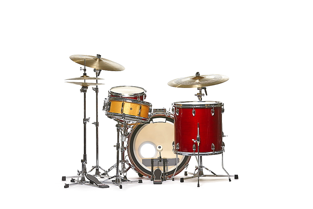 Drum set against white