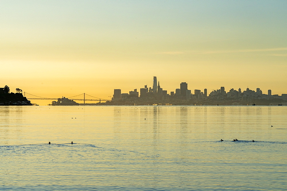 USA, California, San Francisco, Skyline of modern city at sunset
