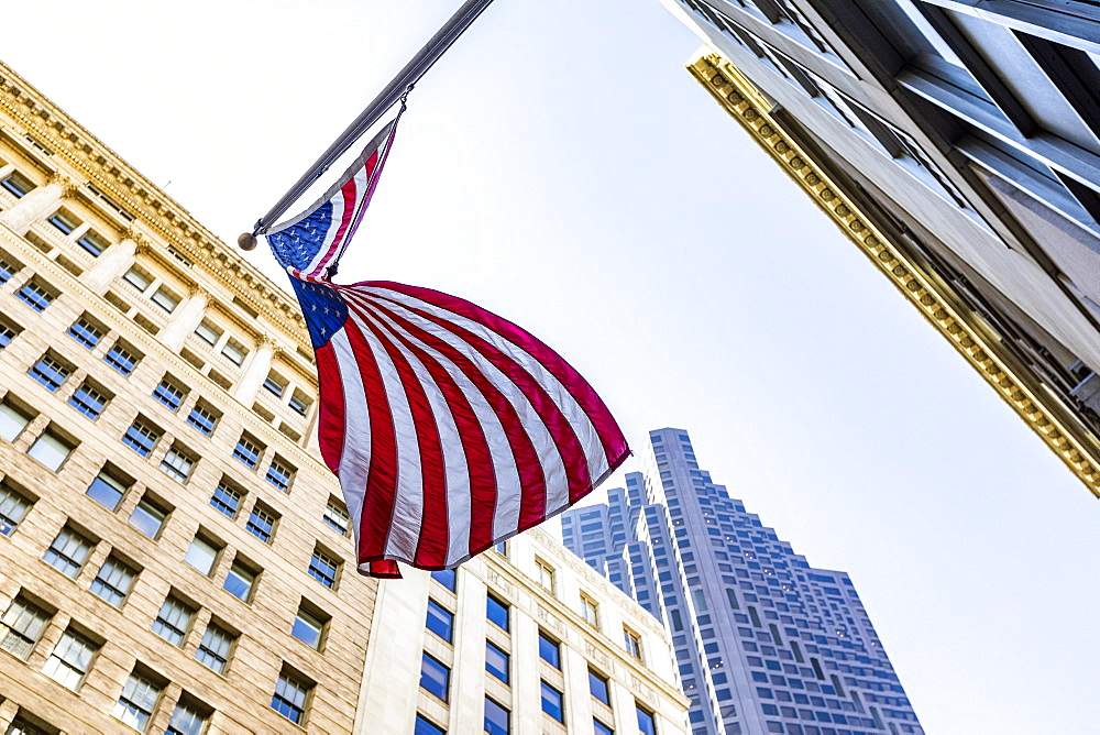 USA, California, San Francisco, Low angle view of american flag on high raise building