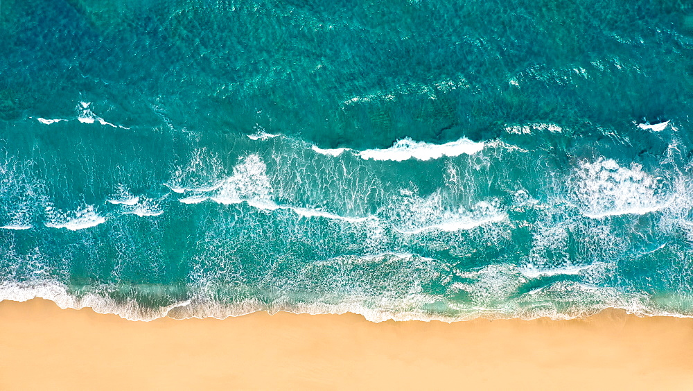 USA, Florida, Delray Beach, Overhead view of sea waves and sand
