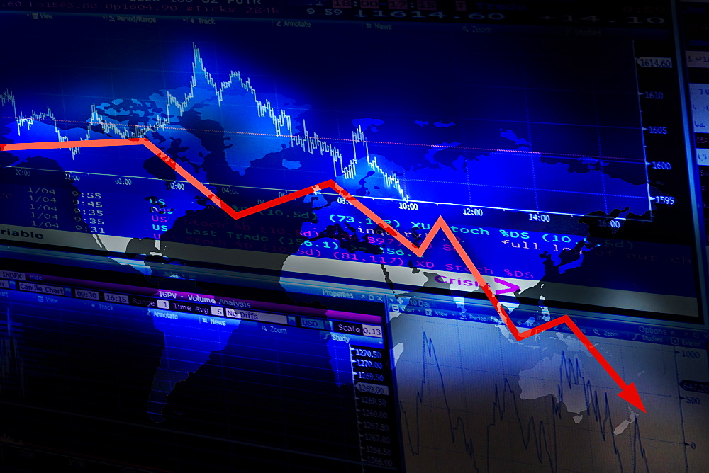 Stock market data and graph moving down